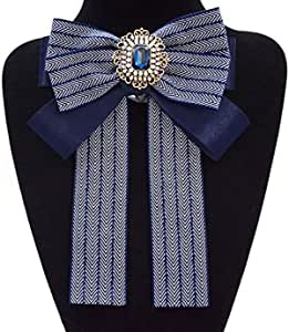 Women Retro Rhinestone Bow Neck Tie Collar Bowknot JK Uniform Bowtie Ribbon