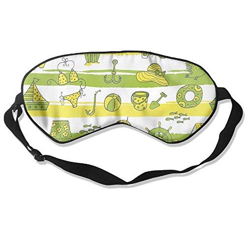 Teesofun Comfortable Sleep Eyes Masks Summer Elements Clip Arts Pattern Sleeping Mask For Travelling, Night Noon Nap, Mediation Or Yoga