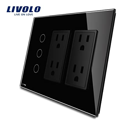 Livolo Black Wall Touch Light Switch With Led Indicator With Wall