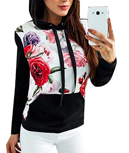 fan products of GAGA Women's Fashion Long Sleeve Cotton Slim Fit Print Flower Drawstring Hooded Sweatshirt Black XS