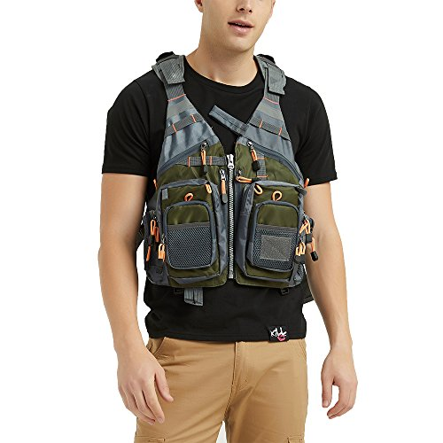 Mounteen Fly Fishing Vest Pack Adjustable Size for Men and Women with Breathable Mesh, Trout Fishing Gear, for Outdoors Fishing, Hunting, Kayaking (Army Green)
