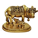 Two Moustaches Brass Holy Kamdhenu Cow and Calf Sculpture