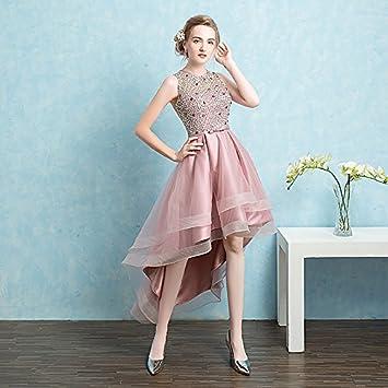 kekafu Vestido asimétrico de cuello joya tul satinado Homecoming Prom vestido de noche formal con cordón