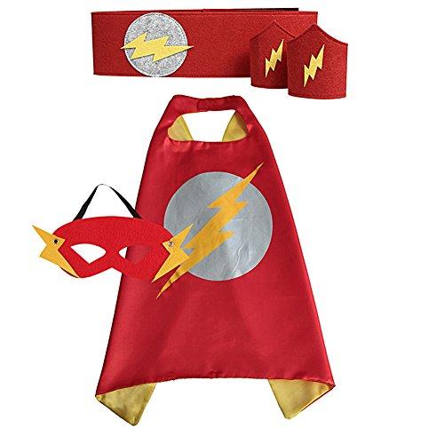 Children's Superhero Cape & Mask & Waistband & Wristband Set (70*70 CM, Red & Yellow (Flash)) (Flash Costume Child)