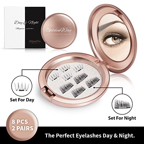 Best Subtle Halloween Costumes (Magnetic Fake Eyelashes Set of 2 – Natural Lashes and Dramatic Lashes – Complete Falsies Kit for Day and Night – 2 Pairs of Reusable False Lashes + FREE Cosmetic Mirror Carrying Case by Golden Way)