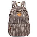 Fanspack Laptop Backpack with USB Charging Port Denim College School Backpack High School Bookbag Casual Travel Backpack