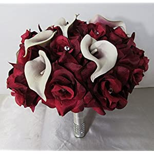Burgundy Rhinestone Rose Calla Lily Bridal Wedding Bouquet & Boutonniere 27