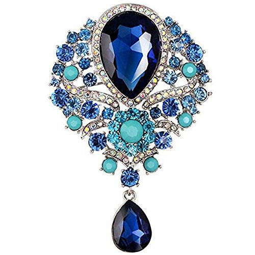 Glass Rhinestone Pin (Bai You Mei Womens Classic Style Clear Glass Flower Brooch Pin Crystal Rhinestone Jewelry 11 Syles)