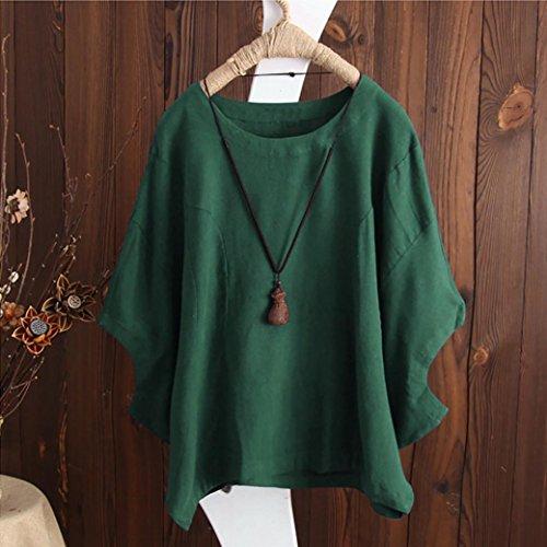 Gilet Sexy Mode Rond Chemise Manches Courtes Tunique Vest Vert Plage Solide Coton Col Blouse Femmes en Irrgulire Hem Chemisier et Lin Shirt Dbardeur Tops Casual T Vintage Haut Chic t rqSAPr