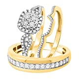 Nisiddh Inc 0.75 Ct White Simulated Diamond Trio Set Wedding His Her Band Matching Engagement Ring 14K Yellow Gold Over Sterling Fashion