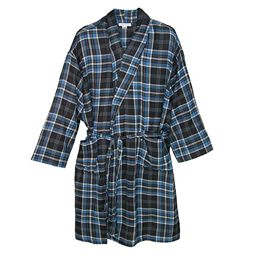 Geoffrey Beene Men's Big and Tall Flannel Robe, 5X/6X, Multi (Big And Tall Mens Robes)