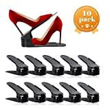 AQUAPRO Shoe Slots Organizer, Adjustable Shoe Stacker Space Saver, Double Deck Shoe Rack Holder for Closet Organization (10-Pack)(Black)