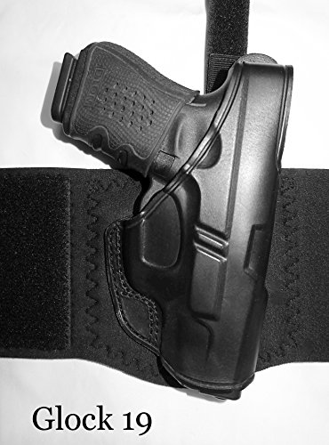 DTOM AH10 Ultimate Comfort Leather and Neoprene Ankle Holster for the Glock 26, 27, 33 INCLUDES calf support ()