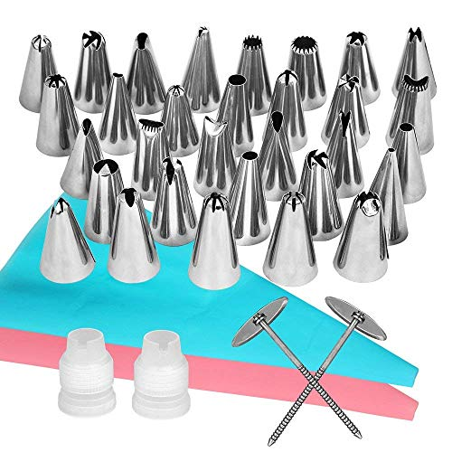 Stainless steel Piping Cream Nozzle Set for Cake Decorating Cookies Pastry Egg tart Cakes Cupcakes Making Silk flower Tools for 38-piece suit by DONGXIUB