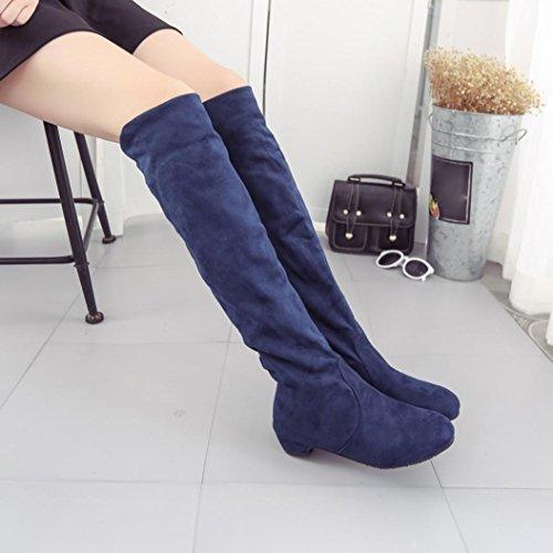 4b0ddc631d0 ... Deesee (tm) Femmes Hiver Automne Bottes Plates Chaussures Haute Jambe  Daim Courtes Longues Bottes ...