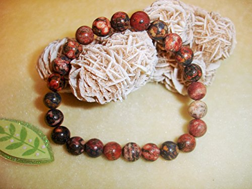 Leopard Skin Jasper 8mm Natural Beads Prayer Bracelet Chakra Balance Meditation ()