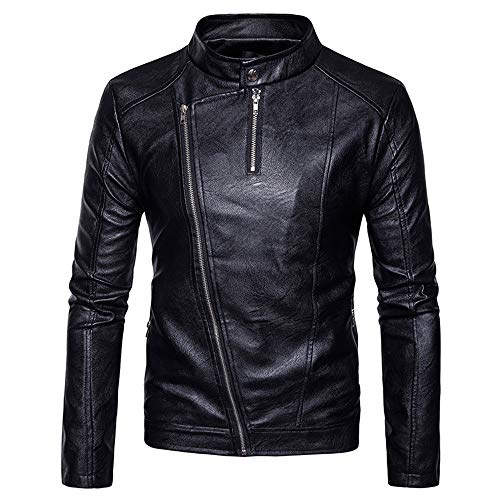 Tomatoa Men Leather Coat,Men's Fashion Jacket Slanted Zipper Zipper Stand Collar Imitation Leather Coat Casual Wild Coat Black
