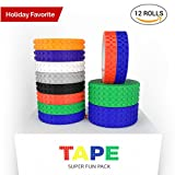 Toy Building Block Tape, Fun Pack of Reusable Self Adhesive Block Tape Rolls for Kids :: Cut, Peel, Stick & Create Anywhere : Compatible with KRE-O, Mega Bloks, DUPLO, & Lego Bricks (12 rolls)