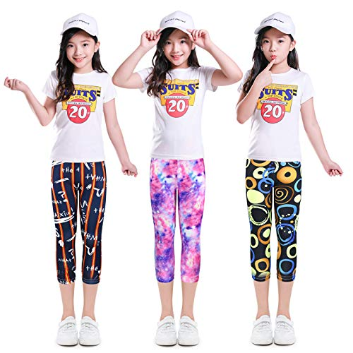 slaixiu 3-Pack Printing Flower Girl Leggings Kids Classic Pants ()
