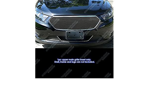 APS Compatible with 2013-2019 Ford Taurus SHO Logo Cover Stainless Black Billet Grille Insert F65937J