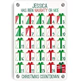 ChalkTalkSPORTS Personalized Holiday Wall Art | Naughty or Nice Dry Erase Christmas Countdown Calendar