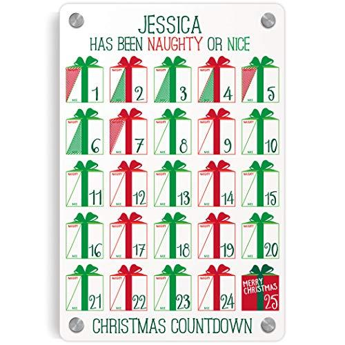 ChalkTalkSPORTS Personalized Holiday Wall Art | Naughty or Nice Dry Erase Christmas Countdown Calendar by ChalkTalkSPORTS