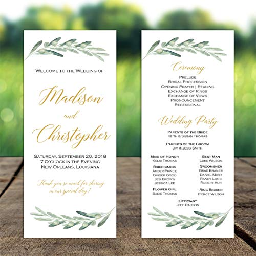 (Wedding Program Olive Branches with ANY Wording Printed )
