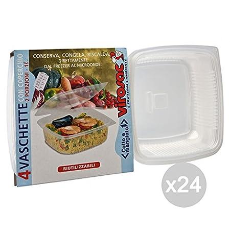 VIROSAC - Juego de 24 bandejas para microondas 2P + Tapa para ...