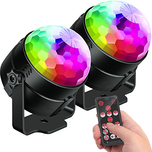[2-Pack]Sound Activated Party Lights with Remote Control Dj Lighting, Upgrade 6 Colors Disco Ball, Strobe Lamp 7 Modes Stage Par Light for Home Room Dance Parties Birthday DJ Karaoke Xmas Wedding Show