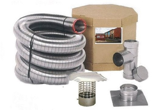 Forever Vent SW5530SSK SmoothWall Double Ply Stainless Steel Chimney Liner Kit, 5.5-Inch x (Flex Chimney Kits)