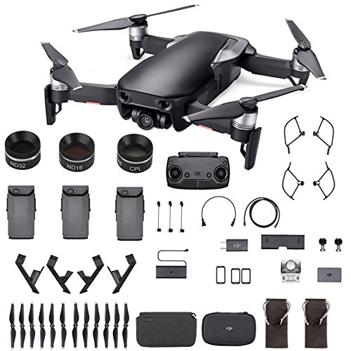 DJI Mavic Air Fly More Combo (Black) Sunny Bundle - 3 ND Filters, 3 Batteries and Landing (Bundle Combo)