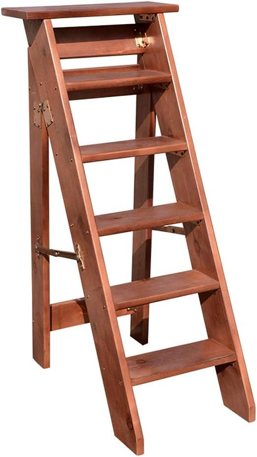 Escaleras Madera Maciza Multifunción Plegable Escalera de 6 Pasos Escalera Interior para Uso doméstico Escalera de Madera Sencillas Ahorro de Espacio (marrón) - Tarea Pesada: Amazon.es: Hogar