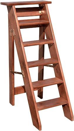 Escaleras Marrón Madera Maciza Escalera doméstica Engrosamiento Escalera de Madera Escalera de un Lado Silla Plegable 4/5/6 Pasos Loft Interior Escaleras móviles: Amazon.es: Hogar