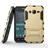 J2 Case, Pasonomi® [Slim Fit] [Kickstand Feature] Hybrid Dual Layer Armor Defender Full Body Protective Case Cover for Samsung Galaxy J2 J200M 4.7 inch 2015 (Golden)