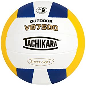 Tachikara VB7500 SUPER-SOFT Composite Stitched Outdoor Volleyball, Royal-White-Gold