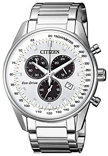 Citizen Eco-Drive(Solar Powered), Stainless Steel Silver Case & White Dial, Chronograph and Date Display, Men's Watch, ()
