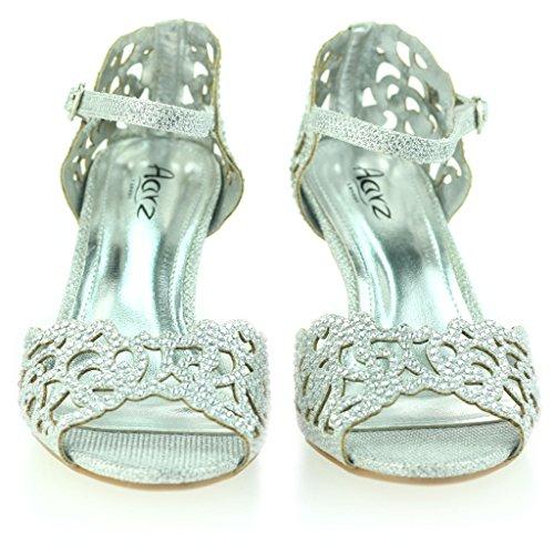 Abierta Tacón Zapatos Plateado Noche Punta Mujer Boda Negro Medio Señoras Tamaño Sandalias Fiesta Diamante EXCEwUq