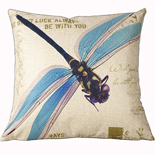 18 X 18 Inch Cotton Linen Retro Vintage Home Decorative Indoor/Outdoor Throw Cushion Cover / Pillow Sham Dragonfly