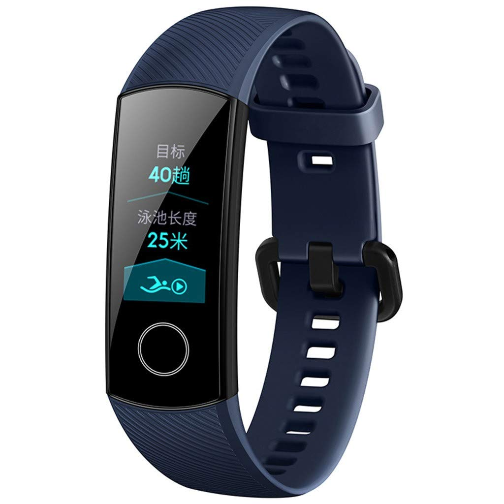 WONdere Honor Band 4 6-Axis Inertial Heart Rate Monitor Infrared Light Wear Detection Sensor Full Touch AMOLED Color Screen Home Button All-in-One Activity Tracker 5ATM Waterproof (Blue)