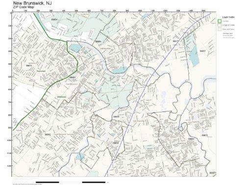 Amazon Com Zip Code Wall Map Of New Brunswick Nj Zip Code Map