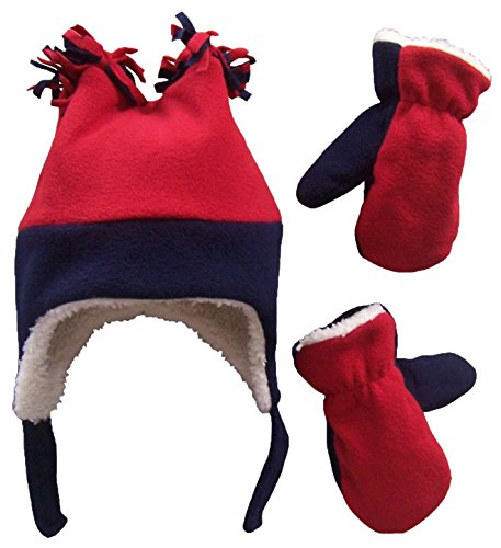N'Ice Caps Boys Sherpa Lined Micro Fleece Four Corner Ski Hat and Mitten Set (2-3yrs, Navy/Red)