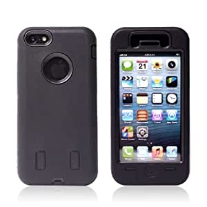 MyBa Black iphone 5C Cover Hybrid Combo Hard Black Plastic Rubber Silicone