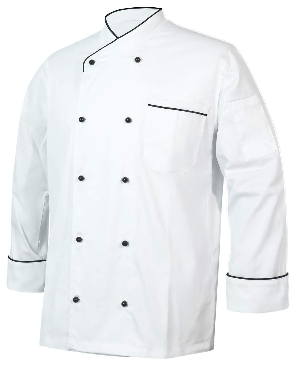 10oz apparel Black Chef Coat Contrast Piping Long Sleeves Jacket (White/Black Piping, XXL) by 10oz apparel