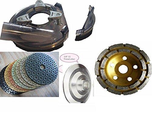 Universal Dust shroud fits 7'' to 9'' grinder 7 Inch Diamond Polishing Pad 16+ aluminum backer grinding convex cup wheel for stone granite travertine quartz masonry fabrication grout removal
