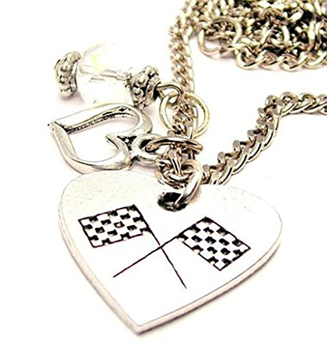 Jewelry Nascar - Crossed Checkered Flags Cluster Pewter Charm 18