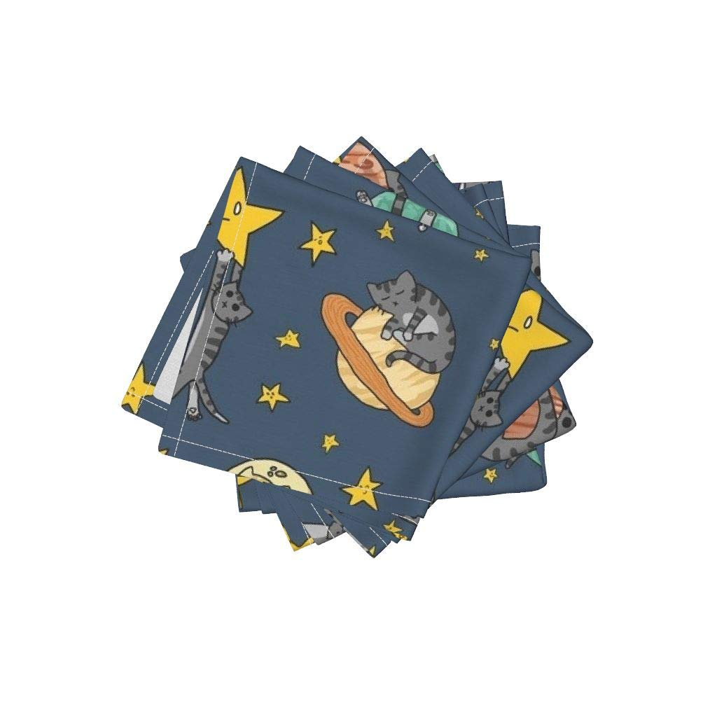 Space Cat Organic Cotton Sateen Cloth Cocktail Napkins - Cats Outer Space Rocket Solar System Stars by Amber Morgan (Set of 4) 10 x 10in