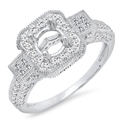 Dazzlingrock Collection 1.00 Carat (ctw) 18K Round & Princess Cut Diamond Semi Mount Ring 1 CT, White Gold, Size 5.5
