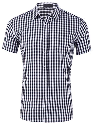 DOKKIA Men's Cotton Sleeved Buffalo Plaid Checked Business Dress Shirt (Short Sleeve Black White, XX-Large)