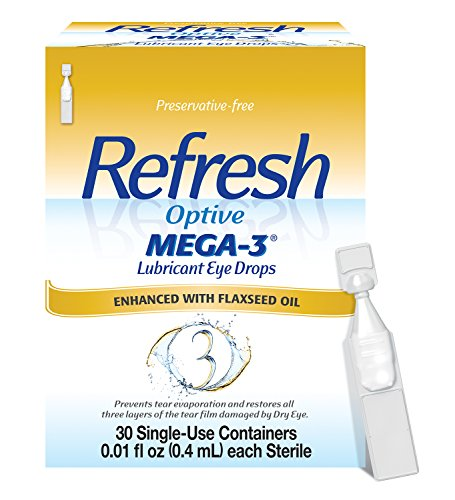 - Refresh Optive Mega-3 Lubricant Eye Drops, 30 Single-Use Containers, 0.01 Fl Oz, 30 Count