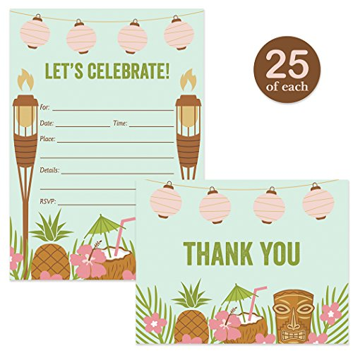 Hawaii Aloha Flowers Tiki Bar (Luau Invitations & Thank You Cards Island Theme Invites & Matching Thank You Notes Set with Envelopes ( 25 of Each ) Tropical Tiki Graduation 30th B'day Retirement & Folded Thanks Excellent Value Pair)